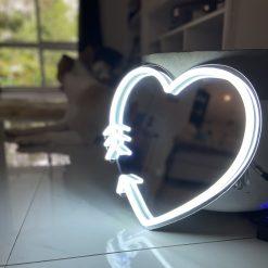 silver light heart neon sign