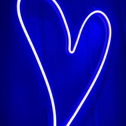 blue heart neon sign
