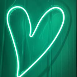 green heart neon sign