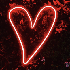 red heart led neon sign