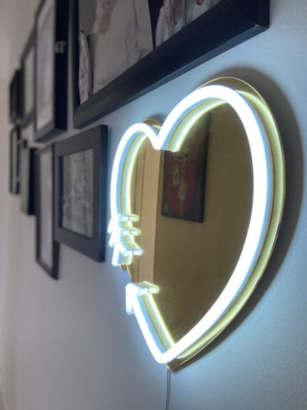 silver light led heart neon sign