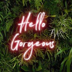 colourfull hello gorgeous neon sign