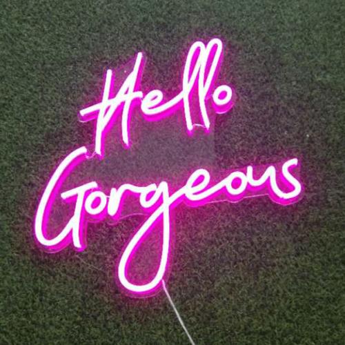 pink colour hello gorgeous neon sign